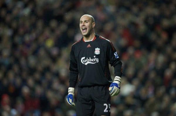 LIVERPOOL, ENGLAND - Monday, January 19, 2009: Liverpool's goalkeeper Pepe Reina in action against Everton during the Premiership match at Anfield. (Photo by David Rawcliffe/Propaganda)