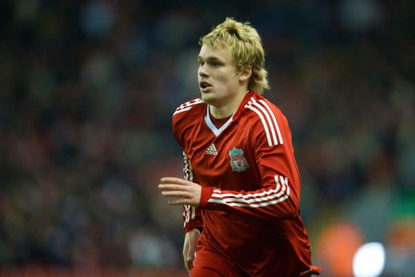 LIVERPOOL, ENGLAND - Thursday, February 5, 2009: Liverpool's Christopher Buchtmann in action against Chelsea during the FA Youth Cup 5th Round match at Anfield. (Mandatory credit: David Rawcliffe/Propaganda)
