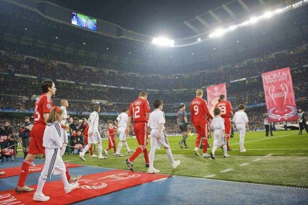 Liverpool players walk out before the UEFA Champions League First Knock-Out Round against Real Madrid at the Santiago Bernabeu. (Photo by David Rawcliffe/Propaganda)