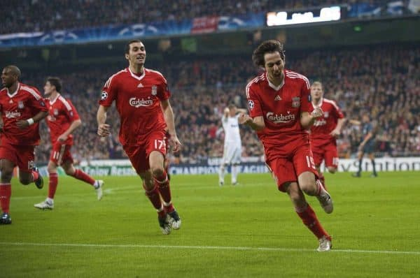 Liverpool's Yossi Benayoun celebrates scoring against Real Madrid during the UEFA Champions League First Knock-Out Round at the Santiago Bernabeu. (Photo by David Rawcliffe/Propaganda)