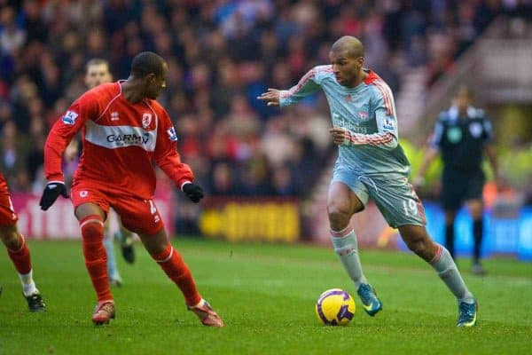 MIDDLESBROUGH, ENGLAND - Saturday, February 28, 2009: Liverpool's Ryan Babel in action against Middlesbrough during the Premiership match at the Riverside Stadium. (Photo by David Rawcliffe/Propaganda)