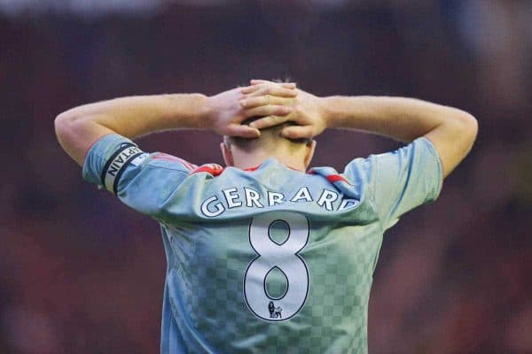 MIDDLESBROUGH, ENGLAND - Saturday, February 28, 2009: Liverpool's captain Steven Gerrard MBE looks dejected after Middlesbrough second goal during the Premiership match at the Riverside Stadium. (Photo by David Rawcliffe/Propaganda)