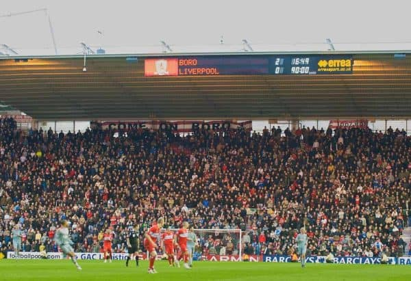 MIDDLESBROUGH, ENGLAND - Saturday, February 28, 2009: Liverpool lose 2-0 to Middlesbrough during the Premiership match at the Riverside Stadium. (Photo by David Rawcliffe/Propaganda)