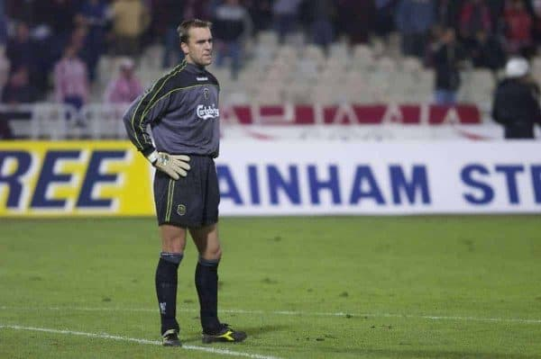 ATHENS, GREECE - Thursday, November 23, 2000: Liverpool's goalkeeper Sander Westerveld looks dejected after conceding an injury time equaliser to Olympiacos during the UEFA Cup 3rd Round 1st Leg match at the Olympic Stadium. (Pic by David Rawcliffe/Propaganda)