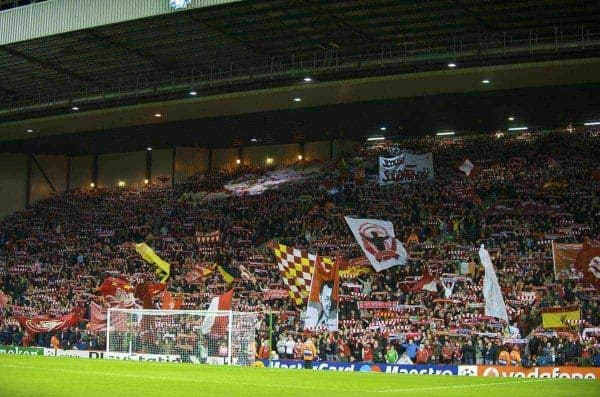 Liverpool fans on the Spion Kop create another magical European night atmosphere before the UEFA Champions League First Knockout Round 2nd Leg match against Real Madrid at Anfield. (Photo by David Rawcliffe/Propaganda)