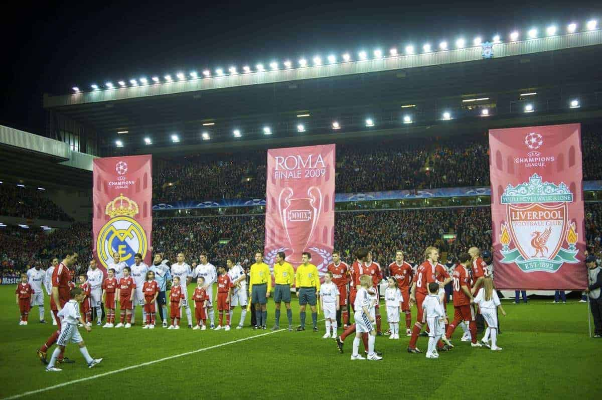LIVERPOOL, ENGLAND - Tuesday, March 10, 2009: Liverpool and Real Madrid players walk-out before the UEFA Champions League First Knockout Round 2nd Leg match at Anfield. (Photo by David Rawcliffe/Propaganda)