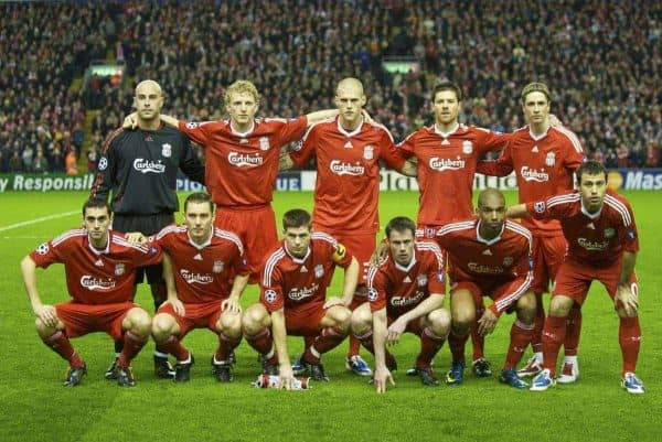 LIVERPOOL, ENGLAND - Tuesday, March 10, 2009: Liverpool players line-up for a team group photo before the UEFA Champions League First Knockout Round 2nd Leg match against Real Madrid at Anfield. Back row (L-R) goalkeeper Pepe Reina, Dirk Kuyt, Martin Skrtel, Xabi Alonso and Fernando Torres. Front Row (L-R) Alvaro Arbeloa, Fabio Aurelio, captain Steven Gerrard MBE, Jamie Carragher, Ryan Babel and Javier Mascherano. (Photo by David Rawcliffe/Propaganda)