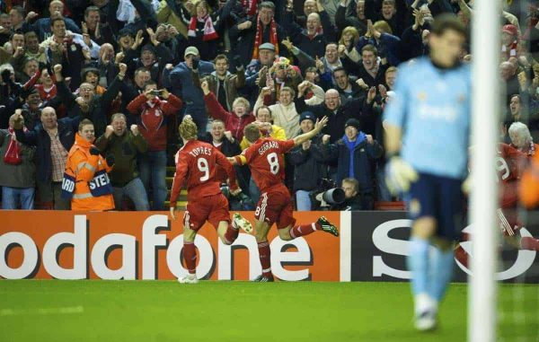 LIVERPOOL, ENGLAND - Tuesday, March 10, 2009: Liverpool's captain Steven Gerrard MBE celebrates scoring the third goal, his second, against Real Madrid during the UEFA Champions League First Knockout Round 2nd Leg match at Anfield. (Photo by David Rawcliffe/Propaganda)