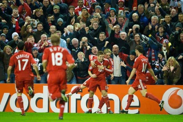 LIVERPOOL, ENGLAND - Tuesday, March 10, 2009: Liverpool's captain Steven Gerrard MBE celebrates with team-mate Fernando Torres after scoring his second, Liverpool's third goal against Real Madrid during the UEFA Champions League First Knockout Round 2nd Leg match at Anfield. (Photo by David Rawcliffe/Propaganda)