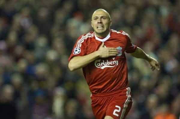 LIVERPOOL, ENGLAND - Tuesday, March 10, 2009: Liverpool's Andrea Dossena celebrates scoring his first, Liverpool's fourth goal, against Real Madrid during the UEFA Champions League First Knockout Round 2nd Leg match at Anfield. (Photo by David Rawcliffe/Propaganda)