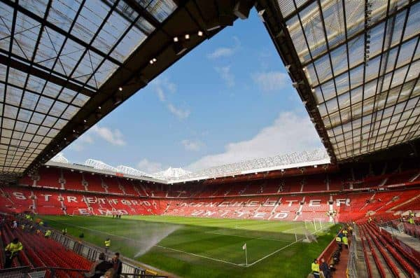 A general view of Manchester United's Old Trafford stadium before the Premiership match against Liverpool at Old Trafford