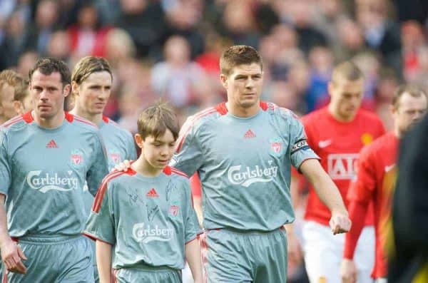 MANCHESTER, ENGLAND - Saturday, March 14, 2009: Liverpool's Jamie Carragher and Jamie Carragher walk out to face Manchester United before the Premiership match at Old Trafford. (Photo by David Rawcliffe/Propaganda)