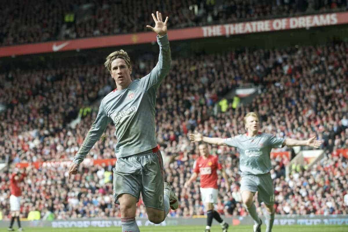 We've won it five times... Liverpool's Fernando Torres reminds fans of his club's European pedigree as he celebrates scoring the equalising goal against Manchester United during the Premiership match at Old Trafford. (Photo by David Rawcliffe/Propaganda)