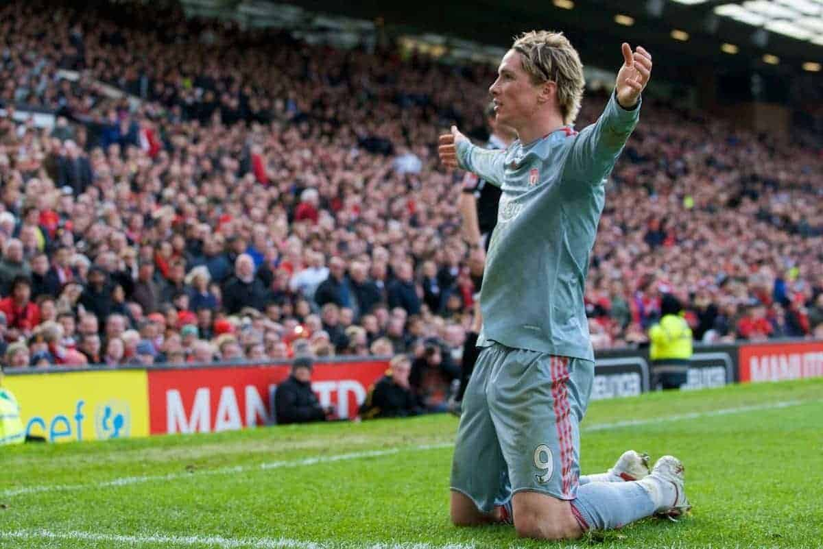 MANCHESTER, ENGLAND - Saturday, March 14, 2009: Liverpool's Fernando Torres celebrates scoring the equalising goal against Manchester United during the Premiership match at Old Trafford. (Photo by David Rawcliffe/Propaganda)