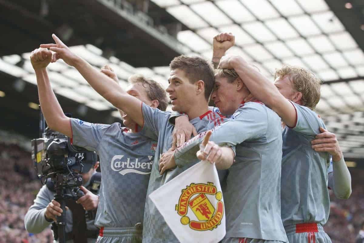MANCHESTER, ENGLAND - Saturday, March 14, 2009: Liverpool's magnificent captain Steven Gerrard MBE celebrates scoring his side's second goal, from the penalty spot, to put his side 2-1 up against Manchester United with team-mate Fernando Torres during the Premiership match at Old Trafford. (Photo by David Rawcliffe/Propaganda)