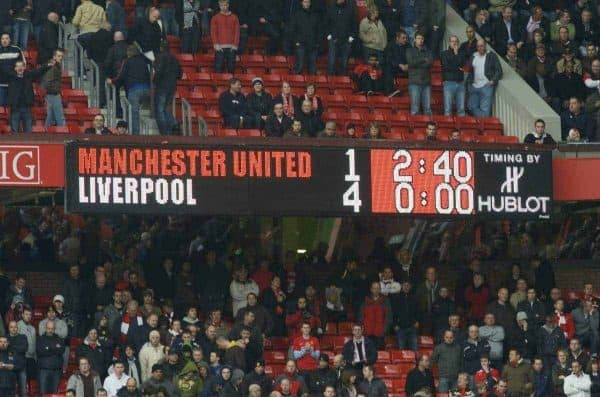 MANCHESTER, ENGLAND - Saturday, March 14, 2009: The Old Trafford scoreboard records Liverpool's 4-1 demolition of Manchester United after the Premiership match. (Photo by David Rawcliffe/Propaganda)