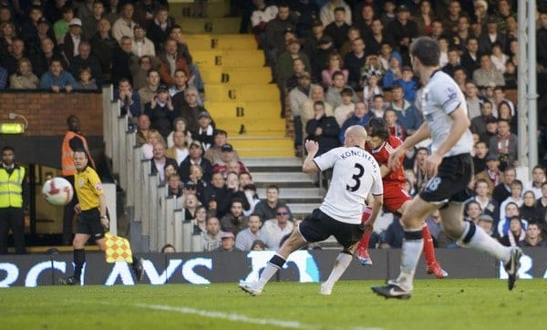 Liverpool's Yossi Benayoun scores the winning goal against Fulham during the Premiership match at Craven Cottage. (Pic by David Rawcliffe/Propaganda)