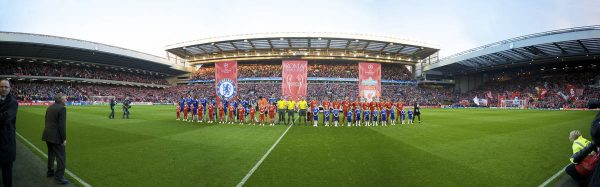 LIVERPOOL, ENGLAND - Wednesday, April 8, 2009: Liverpool and Chelsea players line-up before the UEFA Champions League Quarter-Final 1st Leg match at Anfield. (Photo by David Rawcliffe/Propaganda)