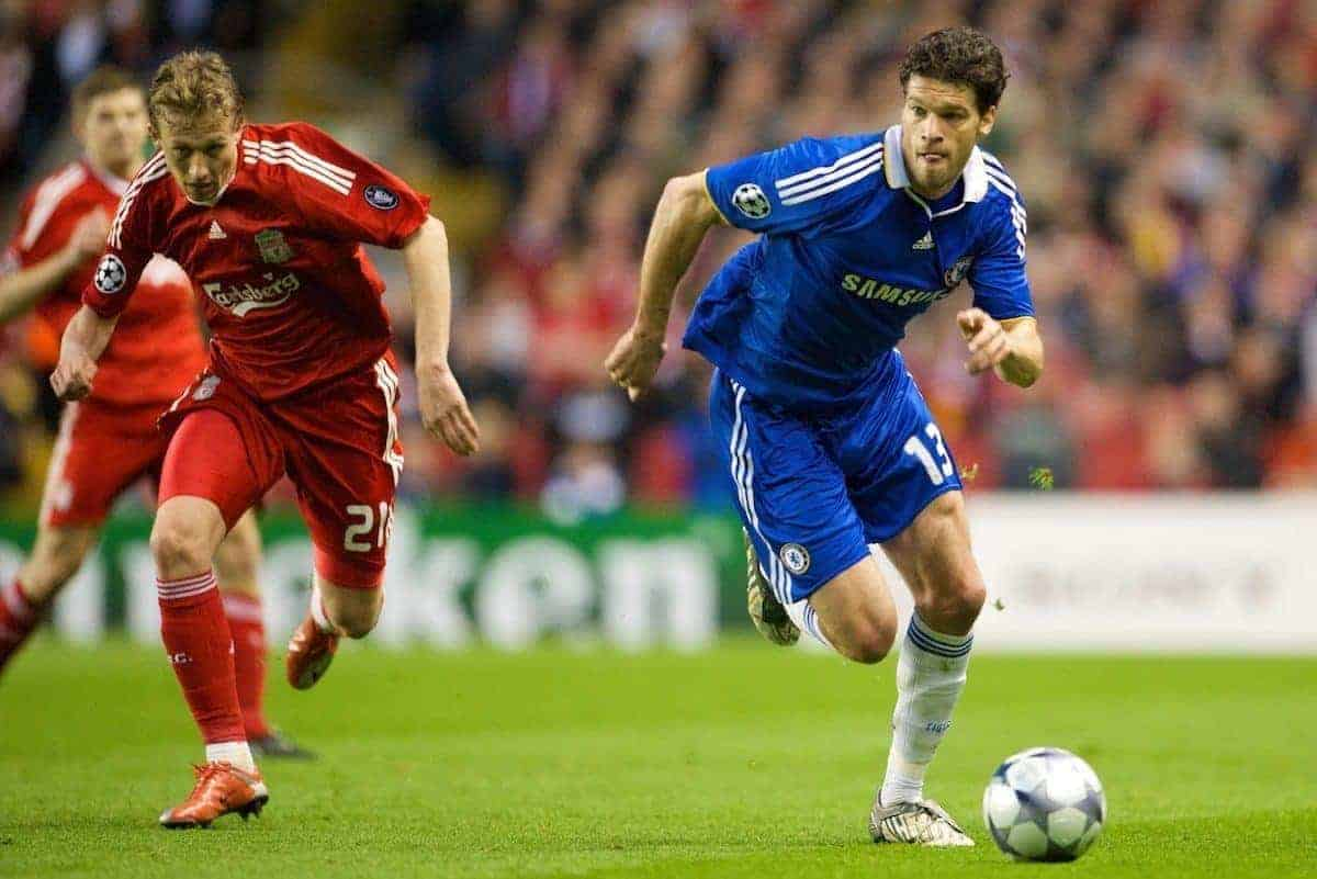 LIVERPOOL, ENGLAND - Wednesday, April 8, 2009: Chelsea's Michael Ballack in action against Liverpool during the UEFA Champions League Quarter-Final 1st Leg match at Anfield. (Photo by David Rawcliffe/Propaganda)