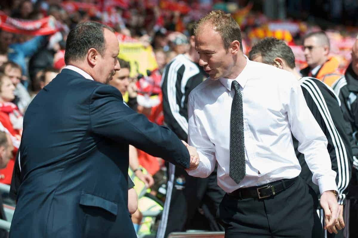 LIVERPOOL, ENGLAND - Sunday, May 3, 2009: Liverpool's manager Rafael Benitez and Newcastle United's manager Alan Shearer during the Premiership match at Anfield. (Photo by David Rawcliffe/Propaganda)