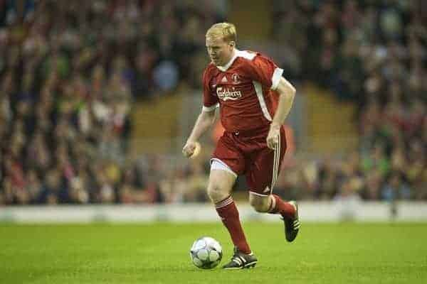 LIVERPOOL, ENGLAND - Thursday, May 14, 2009: Liverpool Legends' Steve Staunton in action against All Stars during the Hillsborough Memorial Charity Game at Anfield. (Photo by David Rawcliffe/Propaganda)