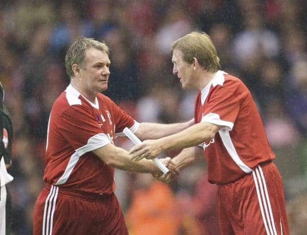 LIVERPOOL, ENGLAND - Thursday, May 14, 2009: Liverpool Legends' player/manager Kenny Dalglish shanks hands with Ray Houghton during the Hillsborough Memorial Charity Game at Anfield. (Photo by David Rawcliffe/Propaganda)