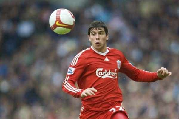 WEST BROMWICH, ENGLAND - Sunday, May 17, 2009: Liverpool's Emiliano Insua in action against West Bromwich Albion during the Premiership match at the Hawthorns. (Photo by David Rawcliffe/Propaganda)