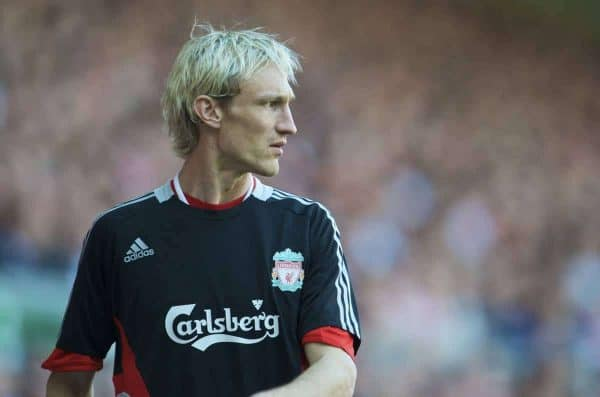 LIVERPOOL, ENGLAND - Sunday, May 24, 2009: Liverpool's Sami Hyypia warms-up as a substitute against Tottenham Hotspur during the Premiership match at Anfield. This would be Hyypia's final appearance after a decade of service for the Reds. (Photo by: David Rawcliffe/Propaganda)