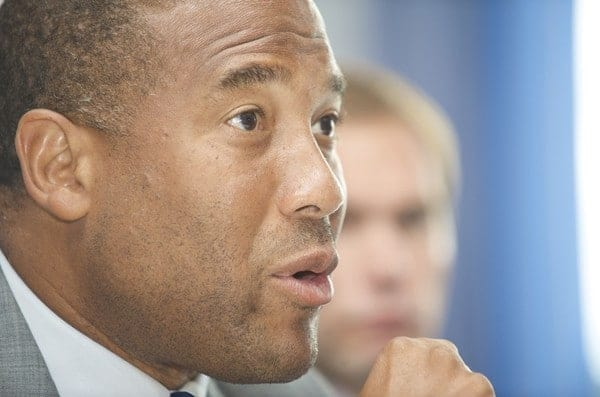 BIRKENHEAD, ENGLAND - Monday, June 15, 2009: John Barnes at a press conference after his appointment as manager Tranmere Rovers FC. (Pic by David Rawcliffe/Propaganda)
