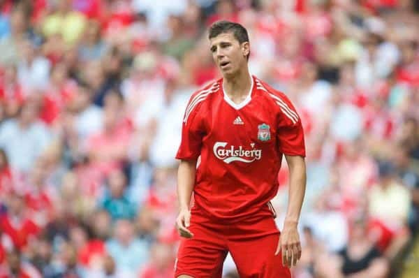 LIVERPOOL, ENGLAND - Saturday, August 8, 2009: Liverpool's Daniel Sanchez Ayala looks dejected as Club Atletico de Madrid score the opening goal during the pre-season friendly match at Anfield. (Pic by: David Rawcliffe/Propaganda)