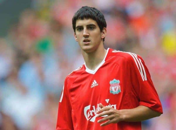 LIVERPOOL, ENGLAND - Saturday, August 8, 2009: Liverpool's Mikel San Jose Dominguez in action against Club Atletico de Madrid during the pre-season friendly match at Anfield. (Pic by: David Rawcliffe/Propaganda)