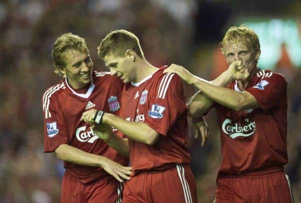 LIVERPOOL, ENGLAND - Wednesday, August 19, 2009: Liverpool's Dirk Kuyt celebrates scoring his side's third goal against Stoke City with team-mates Lucas Leiva and captain Steven Gerrard MBE during the Premiership match against Stoke City at Anfield. (Pic by: David Rawcliffe/Propaganda)