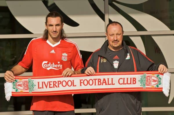 LIVERPOOL, ENGLAND - Saturday, August 22, 2009: Liverpool's new signing Sotirios Kyrgiakos and manager Rafael Benitez during a photo-call at the club's Melwood Training Ground. The 30-year-old defender was signed on a two-year deal from Greek club AEK Athens. (Photo by David Rawcliffe/Propaganda)