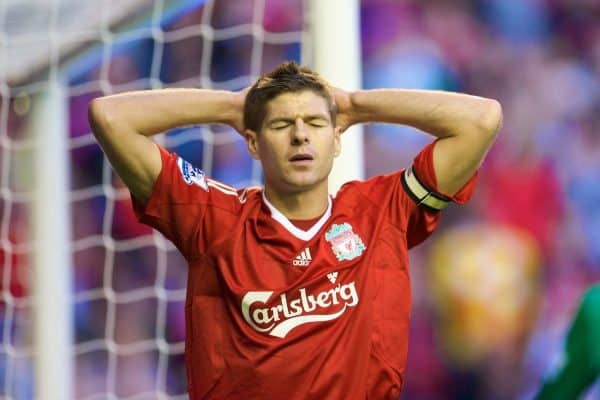 LIVERPOOL, ENGLAND - Monday, August 24, 2009: Liverpool's captain Steven Gerrard MBE looks dejected after a missed opportunity against Aston Villa during the Premiership match at Anfield. (Photo by David Rawcliffe/Propaganda)