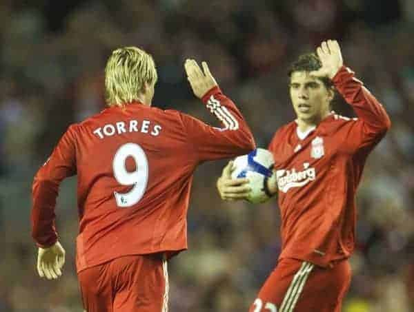LIVERPOOL, ENGLAND - Monday, August 24, 2009: Liverpool's Fernando Torres celebrates his goal against Aston Villa with team-mate Emiliano Insua during the Premiership match at Anfield. (Photo by David Rawcliffe/Propaganda)