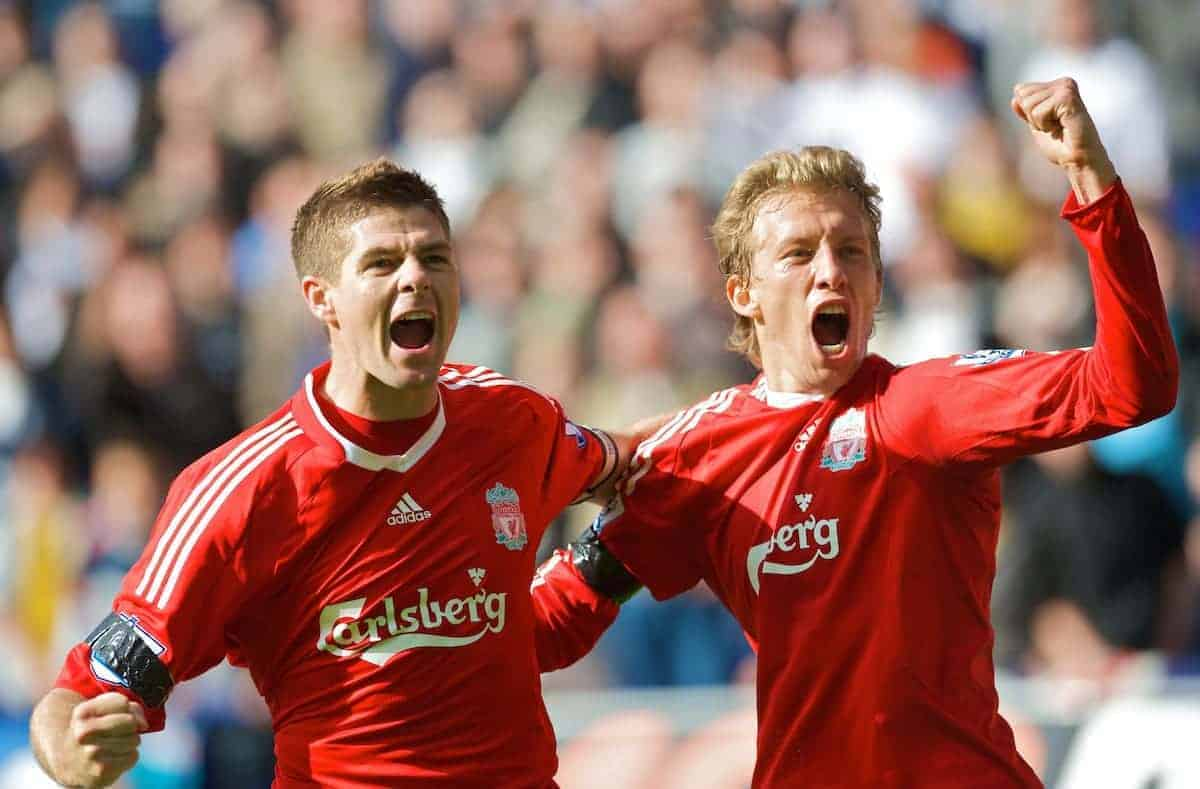 BOLTON, ENGLAND - Saturday, August 29, 2009: Liverpool's captain Steven Gerrard MBE celebrates scoring his side's winning third goal against Bolton Wanderers with team mate Lucas Leiva during the Premiership match at the Reebok Stadium. (Photo by David Rawcliffe/Propaganda)