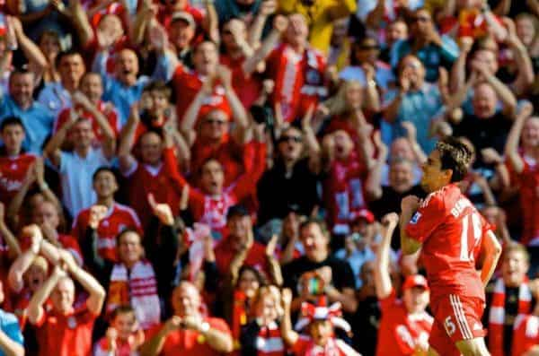LIVERPOOL, ENGLAND - Saturday, September 12, 2009: Liverpool's Yossi Benayoun celebrates scoring his side's first goal against Burnley during the Premiership match at Anfield. (Photo by David Rawcliffe/Propaganda)