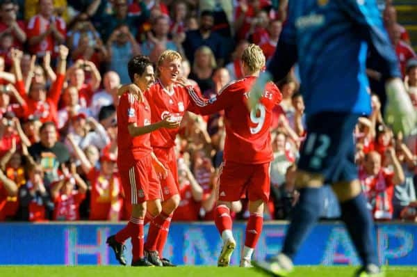 LIVERPOOL, ENGLAND - Saturday, September 12, 2009: Liverpool's Dirk Kuyt celebrates with team-mate Yossi Benayoun after scoring his side's second goal against Burnley during the Premiership match at Anfield. (Photo by David Rawcliffe/Propaganda)