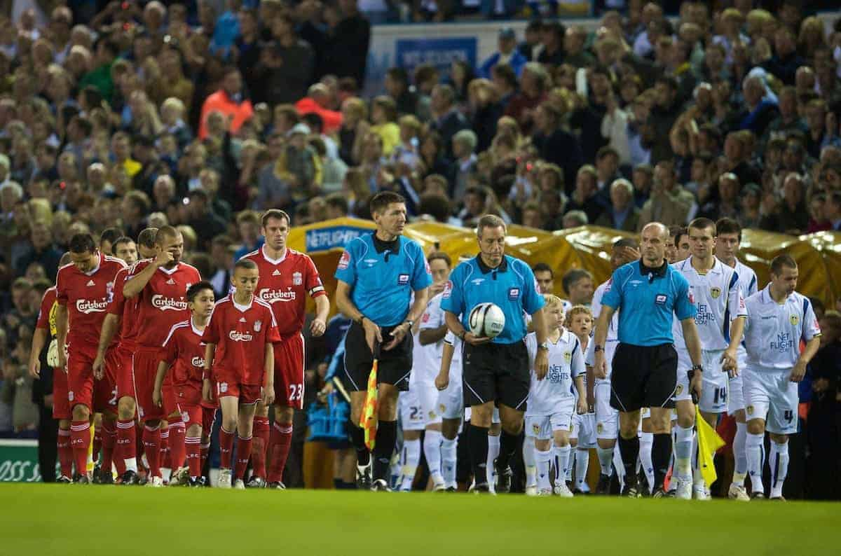 LEEDS, ENGLAND - Tuesday, September 22, 2009: Liverpool's captain Jamie Carragher leads his side out to face Leeds United during the League Cup 3rd Round match at Elland Road. (Photo by David Rawcliffe/Propaganda)