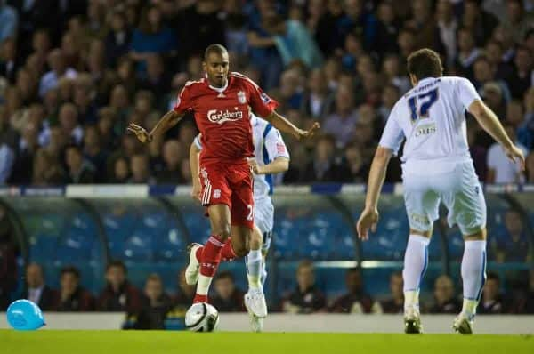 LEEDS, ENGLAND - Tuesday, September 22, 2009: Liverpool's David Ngog in action against Leeds United during the League Cup 3rd Round match at Elland Road. (Photo by David Rawcliffe/Propaganda)