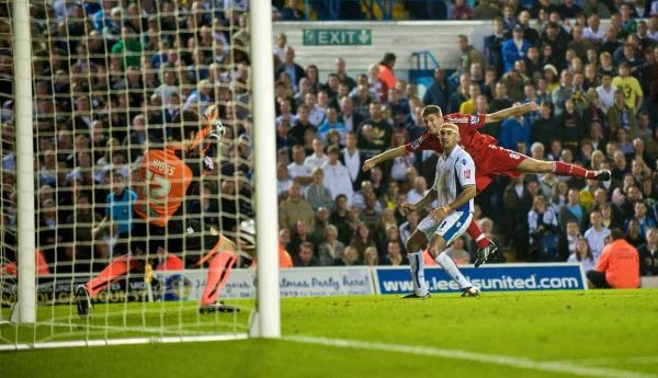 LEEDS, ENGLAND - Tuesday, September 22, 2009: Liverpool's captain Steven Gerrard MBE sees his shot saved by Leeds United's goalkeeper Shane Higgs during the League Cup 3rd Round match at Elland Road. (Photo by David Rawcliffe/Propaganda)