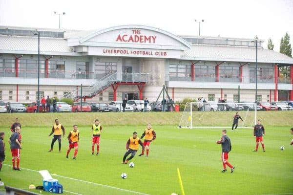 Liverpool players warm-up before the FA Premier Academy League match against Manchester City at the Kirkby Academy. (Pic by David Rawcliffe/Propaganda)