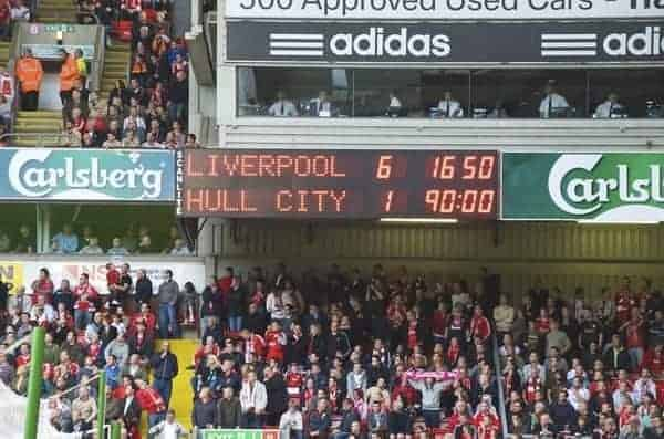 LIVERPOOL, ENGLAND - Saturday, September 26, 2009: Liverpool's scoreboard records Liverpool's 6-1 victory over Hull City during the Premiership match at Anfield. (Photo by: David Rawcliffe/Propaganda)
