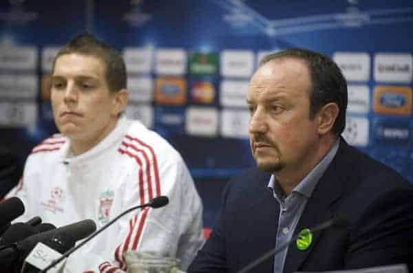 LIVERPOOL, ENGLAND - Monday, October 19, 2009: Liverpool's manager Rafael Benitez and Daniel Agger during a press conference at Anfield ahead of the UEFA Champions League Group E match against Olympique Lyonnais. (Pic by David Rawcliffe/Propaganda)