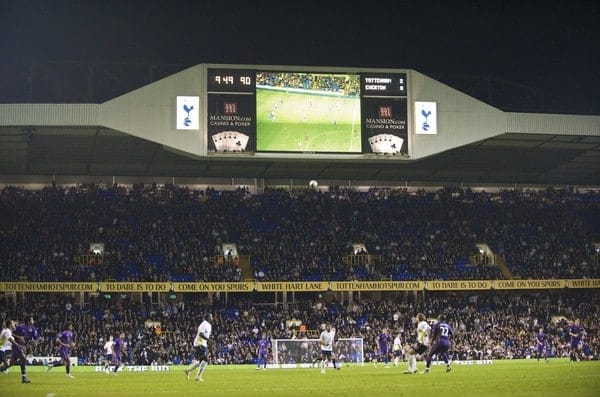 LONDON, ENGLAND - Tuesday, October 27, 2009: The scoreboard records Tottenham Hotspur's 2-0 victory over Everton during the League Cup 4th Round match at White Hart Lane. (Photo by David Rawcliffe/Propaganda)