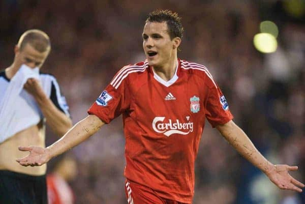 LONDON, ENGLAND - Saturday, October 31, 2009: Liverpool's Philipp Degen walks off after being shown the red card against Fulham during the Premiership match at Craven Cottage. (Pic by David Rawcliffe/Propaganda)