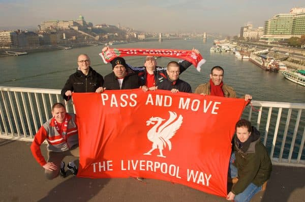 BUDAPEST, HUNGARY - Tuesday, November 24, 2009: Liverpool's supporters from Belgium in Budapest ahead of the UEFA Champions League Group E match against Debreceni VSC. L-R: Kut, Bert, Dirk, Marc, Mike, Nico, Steve (Northern Ireland). (Pic by David Rawcliffe/Propaganda)
