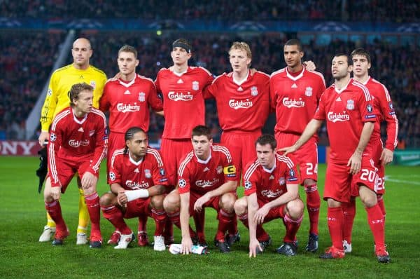 BUDAPEST, HUNGARY - Tuesday, November 24, 2009: Liverpool's players line-up for a team-group photograph before the UEFA Champions League Group E match against Debreceni VSC at the Ferenc Puskas Stadium. Back row L-R: goalkeeper Pepe Reina, Fabio Aurelio, Daniel Agger, Dirk Kuyt, David Ngog, Emiliano Insua, Front row L-R: Lucas Leiva, Glen Johnson, captain Steven Gerrard MBE, Jamie Carragher, Javier Mascherano. (Pic by David Rawcliffe/Propaganda)