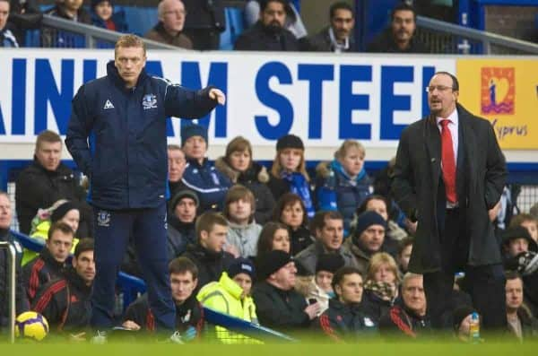 LIVERPOOL, England - Sunday, November 29, 2009: Liverpool manager Rafael Benitez and Everton manager David Moyes during the Premier League match at Goodison Park.  The 212 Merseyside Derby.  (Photo by David Rawcliffe/Propaganda)