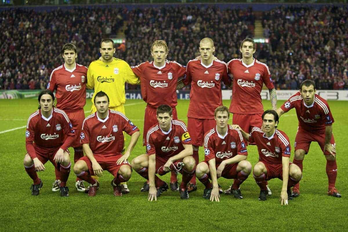 LIVERPOOL, ENGLAND - Wednesday, December 9, 2009: Liverpool's players stand for a team group photograph before the UEFA Champions League Group E match against Fiorentina at Anfield. Back row L-R: Emiliano Insua, goalkeeper Diego Cavalieri, Dirk Kuyt, Martin Skrtel, Daniel Agger. Front row L-R: Alberto Aquilani, Andrea Dossena, captain Steven Gerrard MBE, Stephen Darby, Yossi Benayoun, Javier Mascherano. (Photo by David Rawcliffe/Propaganda)
